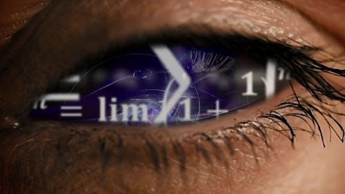 Zoom Into Eye Iris To Math Equations Mess