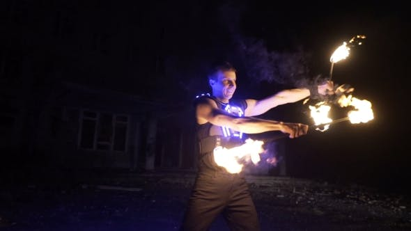 Thumbnail for Fire Show Performance by Handsome Male