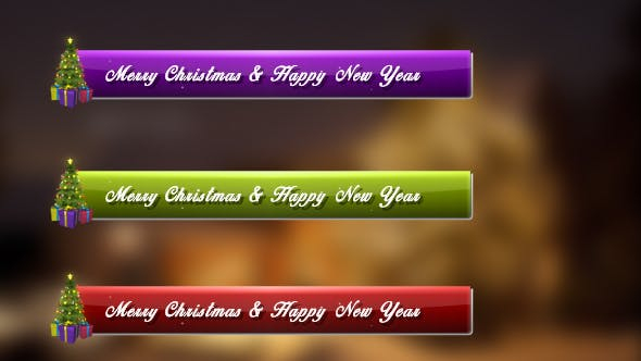 Thumbnail for Merry Christmas & Happy New Year Lower Third Pack (Pack of 12)