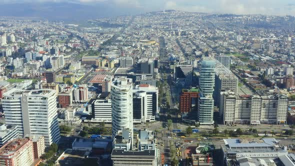 Quito, Ecuador, 6-12-2020: Aerial view of the business district in Quito,