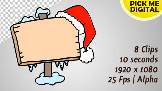 Thumbnail for Sign Board with Santa Hat On 01
