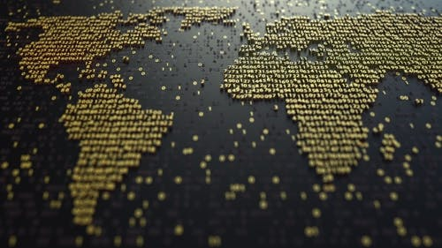 World Map Contour Made of Golden Numbers