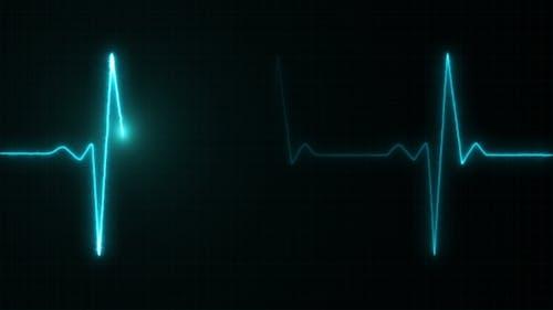 Cardiogram Cardiograph Oscilloscope Screen Blue