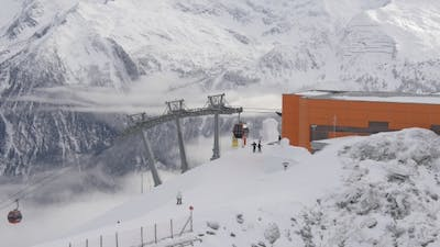 Cabsf of Ski Lift Arriving at the Station