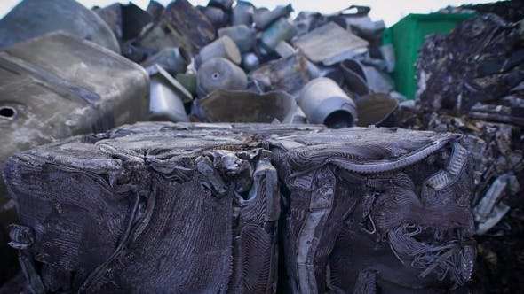 Thumbnail for View of Compressed Metal Waster on Junkyard of Recycling Manufactory