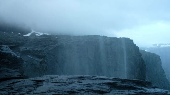 Thumbnail for Upsidedown Waterfall Near Famous Trolltunga Cliff