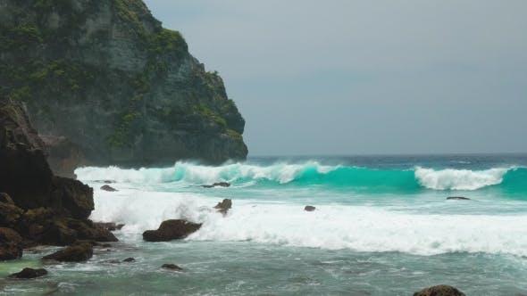 Thumbnail for Ocean Waves Hitting Tembeling Coastline at Nusa Penida Island, Bali Indonesia