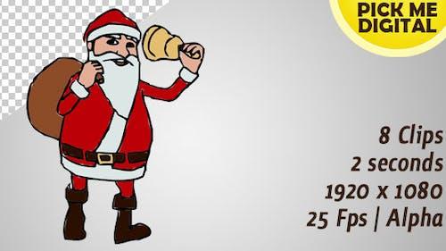 Sonnerie du Père Noël dessinée à la main et boucle de marche