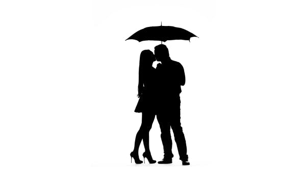 Thumbnail for Pair Kissing Under the Umbrella. Silhouette. White Background