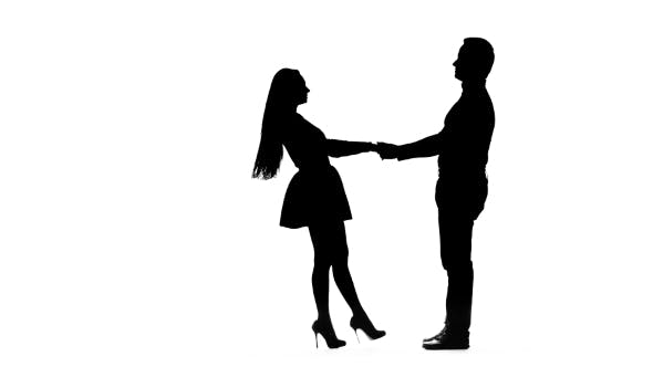 Thumbnail for Guy Takes the Girl in His Arms and Kisses. Silhouette. White Background