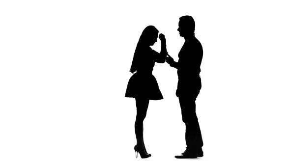 Thumbnail for Guy with the Girl Swear and Then They Hug. Silhouette. White Background