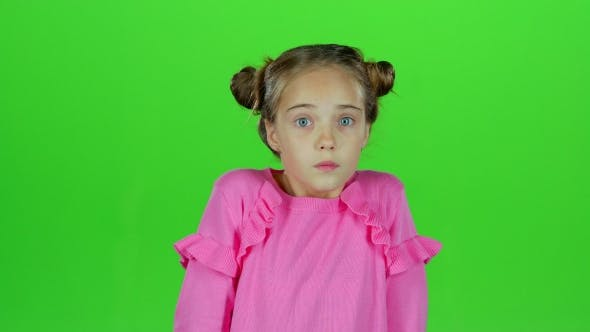 Thumbnail for Child Is Surprised From What He Saw. Green Screen