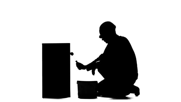 Thumbnail for Worker in a Helmet Paints a Building with a Roller. Silhouette. White Background