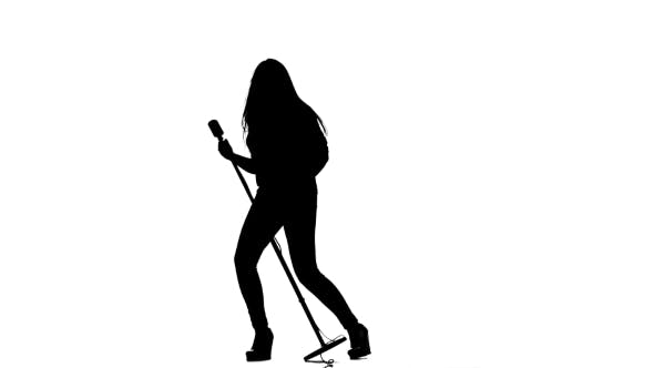 Thumbnail for Girl Sings in a Retro Rock Song Microphone. White Background. Silhouette