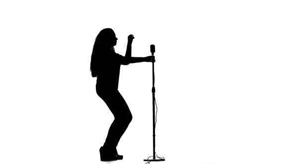 Thumbnail for Vocalist Performs Incendiary Songs in a Microphone. White Background. Silhouette