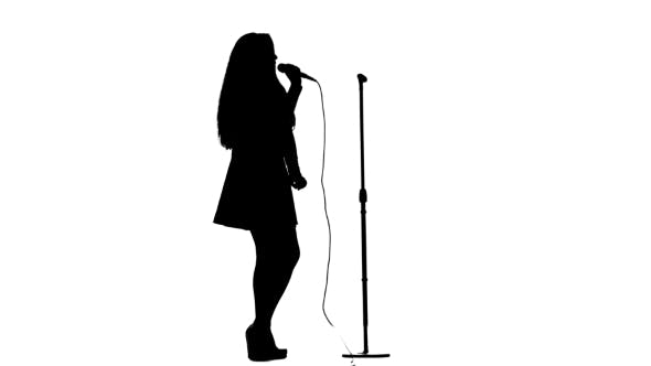 Thumbnail for Actress Sings Pop Music at the Concert. White Background. Silhouette. Side View