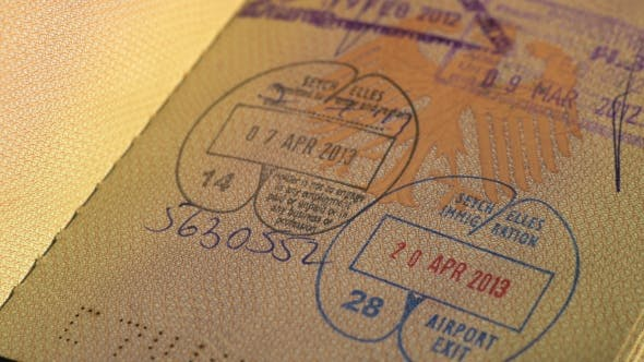 Thumbnail for Inside of Passport with Stamps, Thailand, Seychells