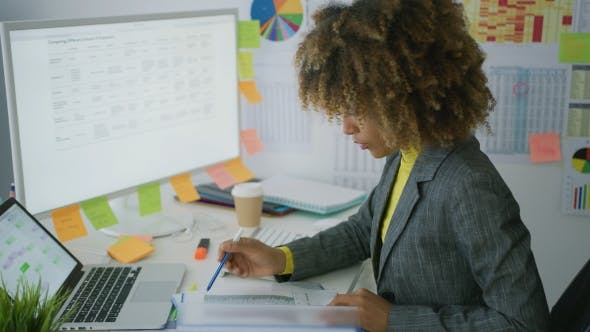 Thumbnail for Young Businesswoman Working with Documents