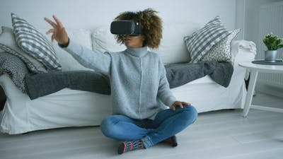 Woman Enjoying VR Glasses