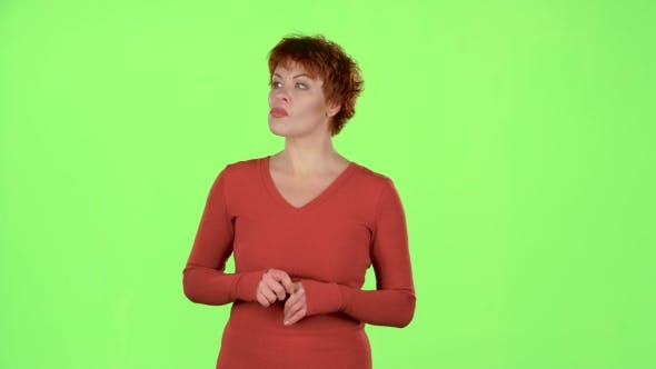 Thumbnail for Woman Saw a Friend and Waved at Him. Green Screen