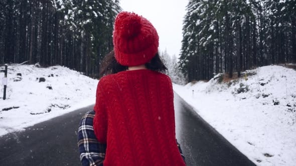 Thumbnail for Happy Winter Couple Together in the Winter Forest