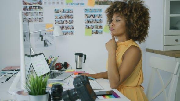 Thumbnail for Stylish Pensive Worker at Desktop