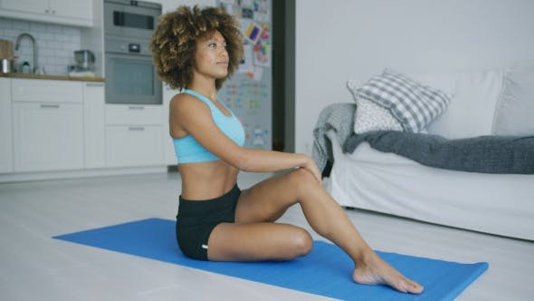 Thumbnail for Woman Stretching Body Training on Mat