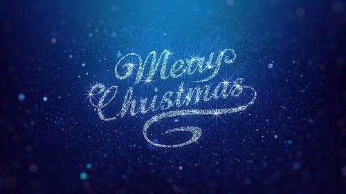Blue Merry Christmas Greeting