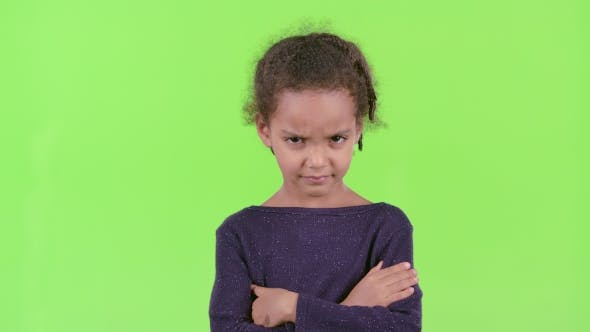 Thumbnail for Child of an African American Is Angry. Green Screen