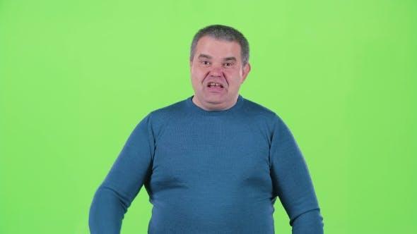 Thumbnail for Man Screams at His Friends. Green Screen