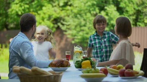 Kids Running to Parents Having Lunch and Hugging, Perfect Relations, Well-Being