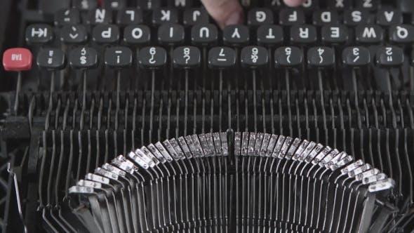 Thumbnail for Old Typewriter Machine Detail, Typing on Vintage Typing Machine