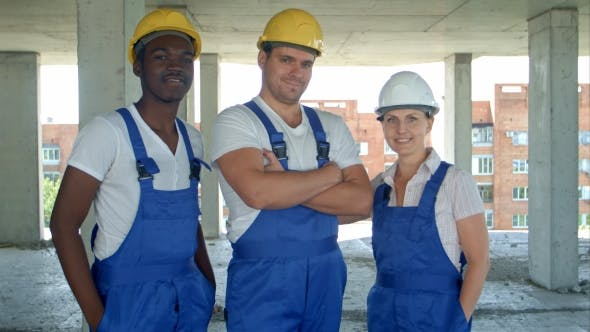 Thumbnail for Confident Diverse Team of Workmen and Women Standing Grouped in Their Dungarees