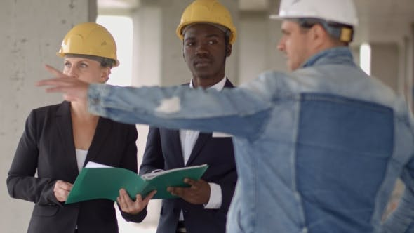 Thumbnail for Business People Group on Meeting and Presentation in Construction Site with Construction Engineer