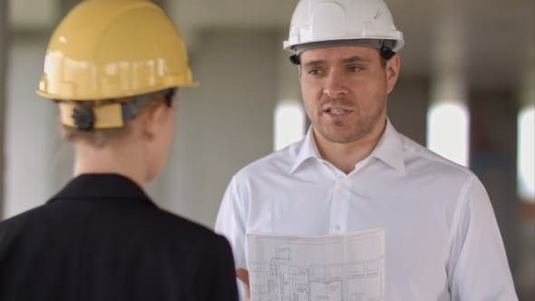Businessman Have Problem and Angry at Construction Site Building