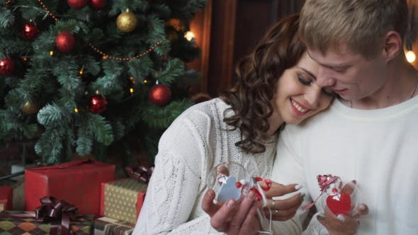 Thumbnail for Young Couple Smiling, Happy, Christmas Decoration
