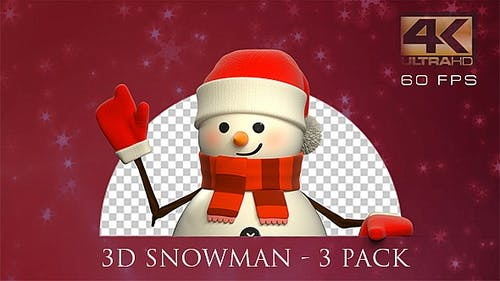 3D Snowman Animated - 3 Pack