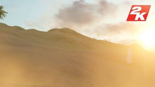 Thumbnail for Arabian Man Alone Walking On The Desert