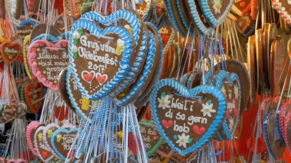 Thumbnail for Traditional Colorful Gingerbread Heart Shaped at the Oktoberfest Festival, Bavaria, Germany