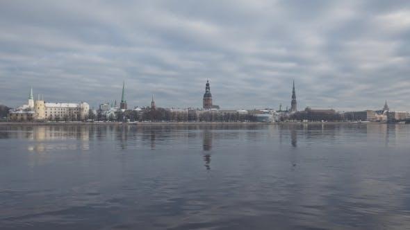 Thumbnail for Riga Down Town City Daugava River Hypperlapse, Winter