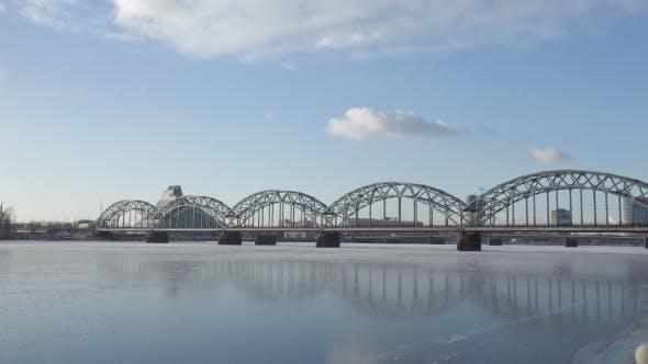 Thumbnail for Riga City Daugava River and Library in Winter