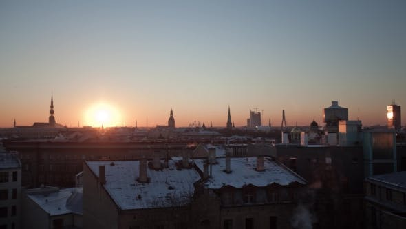 Thumbnail for Riga Down Town Cathedral Dome Sunset in Winter