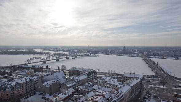 Cover Image for Riga Down Town Cathedral Dome Daugava River and Bridges in Winter
