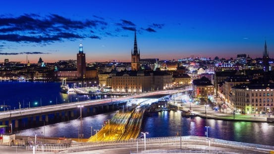 Thumbnail for Stockholm Old City Sunset Panorama  Night Traffic