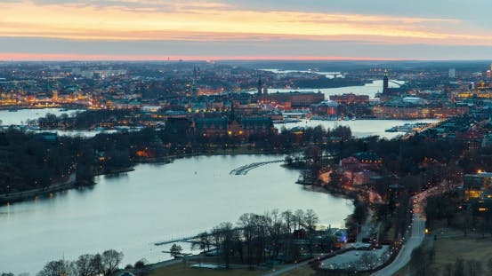 Thumbnail for Scenic Old City Architecture Sunset Panorama of Stockholm, Sweden
