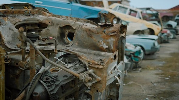 Thumbnail for Shot of a Dump of Old and Broken Cars.