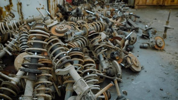 Thumbnail for Dozens of Old Rusty Metal Scraps Lying in Piles on Indusrtial Scrapyard. Old Car Parts for Recycling