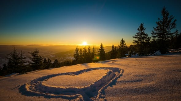 Thumbnail for Heart on Snow, Sunrise Winter Mountain