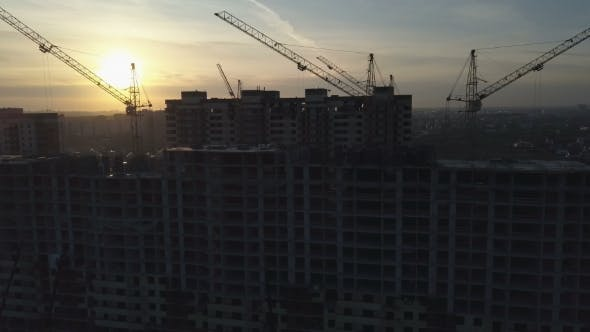 Aerial View of Modern City Construction and Development
