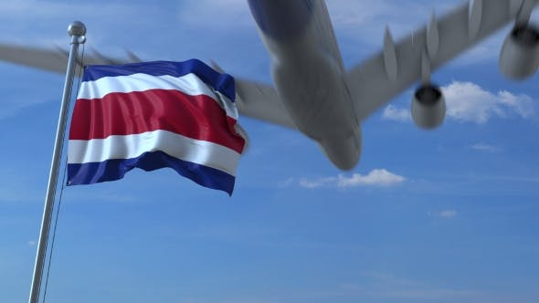 Thumbnail for Airplane Flying Over Waving Flag of Costa Rica